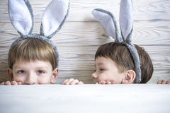 Kids on Easter egg hunt in blooming spring garden. Children searching for colorful eggs in flower meadow. Toddler boy and his brot. Her friend kid boy play Royalty Free Stock Photos