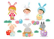 Kids and Easter eggs, Basket with rabbit and Easter, characters and icons on white background. Vector illustration. Kids and Easter eggs, Basket with rabbit and Royalty Free Stock Photo