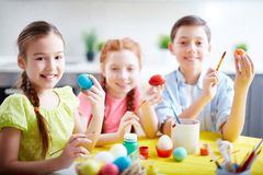 Kids with Easter eggs Royalty Free Stock Photo