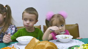 Kids eat stock video footage