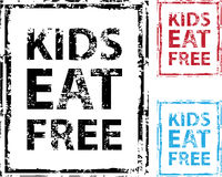 Kids Eat Free grunge stamp Vector. File eps Stock Photos
