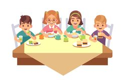 Kids eat together. Children eating dinner cafe restaurant happy child breakfast lunch fast food dining friends cartoon. Healthy meal vector concept stock illustration