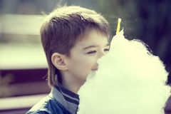 Kids eating cotton candy Stock Photography