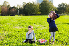 Kids eating fruits Royalty Free Stock Image