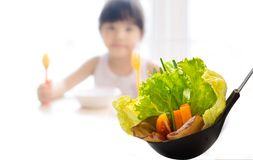 Kids eating healthy food in kindergarten, nursery or at home royalty free stock photography