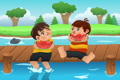 Kids Eating Watermelon Royalty Free Stock Photos