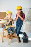 Kids eating in workshop royalty free stock image