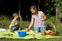 Kids eats picnic. Kids eats a picnic with healthy food Royalty Free Stock Photo