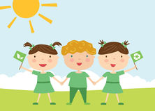 Kids with eco flags Stock Images