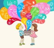 Kids and education box. Illustration Stock Photo