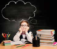Kids Education, Child Boy Study in School, Thinking Bubble. Kids Education, Child Boy Study in School, Thinking or Dreaming over Bubble on Black Chalkboard royalty free stock image