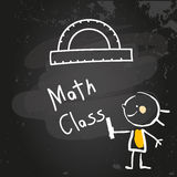 Kids Education. First grade math class education, hand drawn on blackboard with chalk. Hand drawing and writing doodle style, sketchy illustration Royalty Free Stock Image