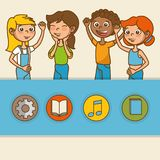 Kids with education icons Royalty Free Stock Image