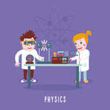 Kids education. Physics class. Children in a lab Stock Photo