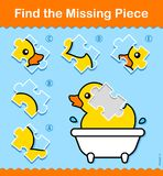 Kids educational Find The Missing Piece puzzle. With a colorful little cartoon rubber duck in a bath and a choice of five parts to complete the picture at an stock illustration