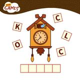 Kids educational game. Words puzzle children educational game. Place the letters in right order. Learning vocabulary. Cartoon clock stock illustration