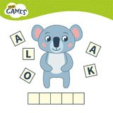 Kids educational game. Words puzzle children educational game. Place the letters in right order. Learning vocabulary. Cartoon cute koala vector illustration