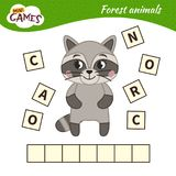 Kids educational game. Words puzzle children educational game. Place the letters in right order. Learning vocabulary. Cartoon raccoon. Forest animals vector illustration