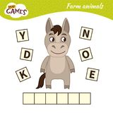 Kids educational game. Words puzzle children educational game. Place the letters in right order. Learning vocabulary. Cute cartoon donkey stock illustration