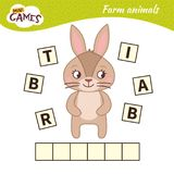 Kids educational game. Words puzzle children educational game. Place the letters in right order. Learning vocabulary. Cute cartoon rabbit vector illustration