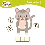 Kids educational game. Words puzzle children educational game. Place the letters in right order. Learning vocabulary. Cute cartoon kitten vector illustration