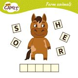 Kids educational game. Words puzzle children educational game. Place the letters in right order. Learning vocabulary. Cute cartoon horse vector illustration