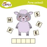 Kids educational game. Words puzzle children educational game. Place the letters in right order. Learning vocabulary. Cute cartoon sheep vector illustration