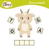 Kids educational game. Words puzzle children educational game. Place the letters in right order. Learning vocabulary. Cute cartoon goat vector illustration
