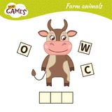 Kids educational game. Words puzzle children educational game. Place the letters in right order. Learning vocabulary. Cute cartoon cow royalty free illustration