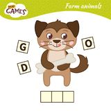 Kids educational game. Words puzzle children educational game. Place the letters in right order. Learning vocabulary. Cute cartoon dog vector illustration