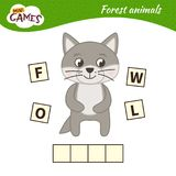 Kids educational game. Words puzzle children educational game. Place the letters in right order. Learning vocabulary. Cartoon wolf. Forest animals stock illustration