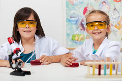Kids in elementary science class Stock Photography