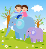 Kids and elephant Stock Image