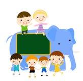 kids and elephant Stock Photo