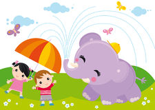 Kids and elephant. Illustration of two kids with umbrella and elephant vector illustration