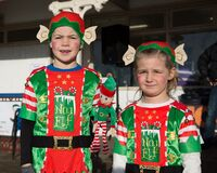 Kids in elf costumes Royalty Free Stock Photography