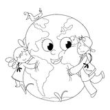 Kids embracing Earth BW Stock Photography