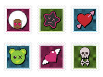 Kids emo stamps Stock Image