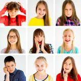 Kids emotions collage. Collage showing different boys and girls emotions Stock Images
