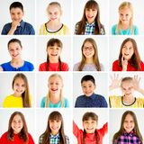 Kids emotions collage. Collage showing different boys and girls emotions Stock Image