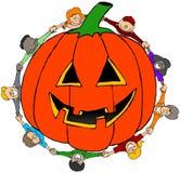 Kids encircling a jack-o-lantern vector illustration