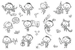 Kids engaged in different creative activities. Funny cartoon kids engaged in different creative activities like drawing, singing, modelling and so on. No Royalty Free Stock Photography