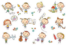 Kids engaged in different creative activities. Funny cartoon kids engaged in different creative activities like drawing, singing, modelling and so on. No royalty free illustration