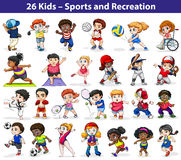 Kids engaging in different activities royalty free illustration