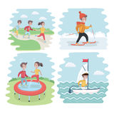 Kids engaging in different sports activities vector illustration
