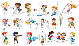 Kids engaging in different sports Royalty Free Stock Images