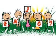 Kids Enjoy Indicates Childhood Joyful And Happiness Stock Photography