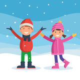 Kids enjoy the snow Royalty Free Stock Photography