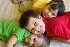 Kids enjoying being home Royalty Free Stock Photo