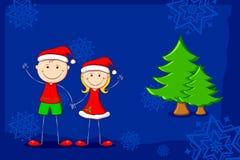 Kids enjoying Christmas Stock Image